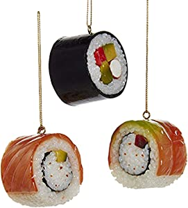 Kurt Adler Plastic Sushi Ornaments, Set of 3