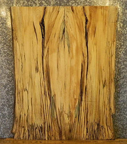 599 Wood (2- Natural Edge Bookmatched Hackberry Office Desk Top Wood Slabs T: 2 3/16'', W: 20 3/4'', L: 53 1/8'' - 599-600)