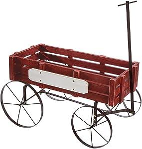 Fox Valley Traders Red Wagon Planter, Decorative Indoor/Outdoor Garden Backyard Planter