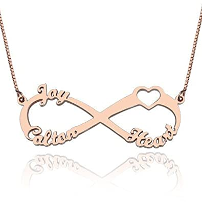 38d329aee9d4 Buy HACOOL Women's Sterling Silver Customized Unique Family Names Necklace  Pendant Infinity Love Heart Couple Gift Online at Low Prices in India |  Amazon ...