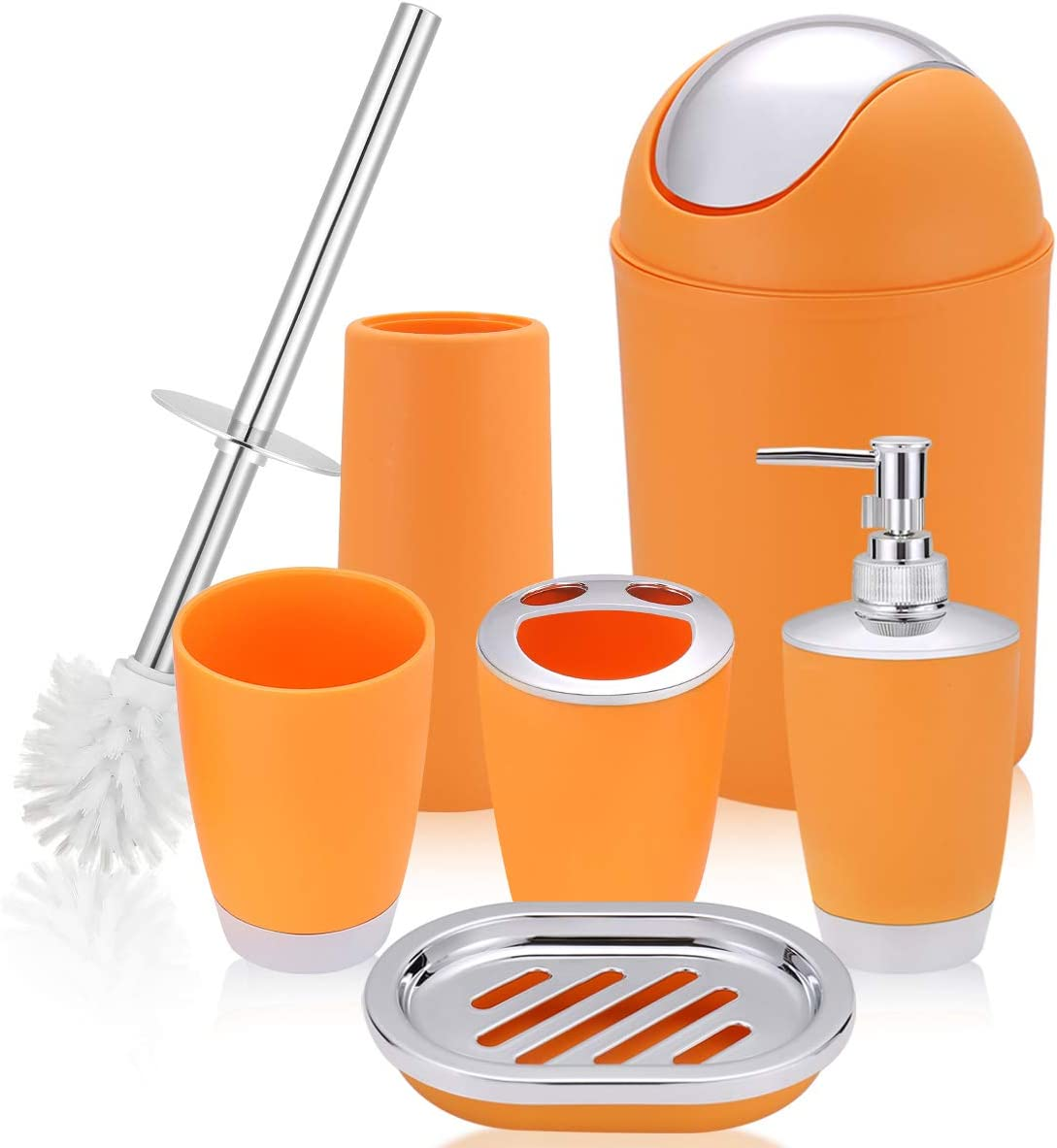 Amazon Com O2 Tech 6 Piece Bathroom Accessories Set Plastic Bath Ensemble Bath Set Lotion Bottles Toothbrush Holder Tooth Mug Soap Dish Toilet Brush Trash Can Orange Home Kitchen