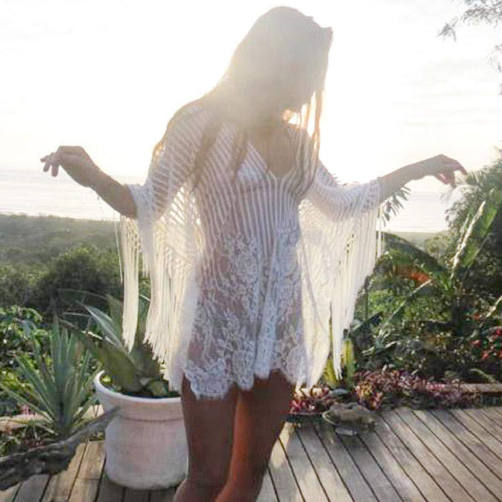 SHOBDW Trajes de baño Mujer Cubre De Playa Bikini De Baño Sexy Sólido Suelto Crochet Bata con Flecos Cubrir para Mujer Ropa De Playa De Una Pieza(Blanco, ...