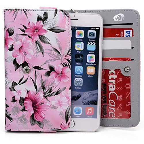Pink/Black Floral Wallet Case for Posh Kick X511, Icon S510, Titan Max HD E550, Ultra 5.0 LTE, Titan HD, Revel Pro X510, Orion Pro X500 | Universal BiFold Style (Hd Icon)