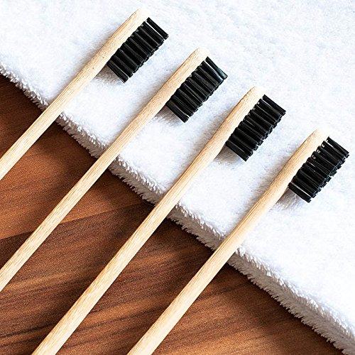 ieenay 4Pcs Set Brosse /à Dents en Bambou avec des Poils de Charbon de Bois Soins dentaires naturels pour la Maison de Voyage en Famille