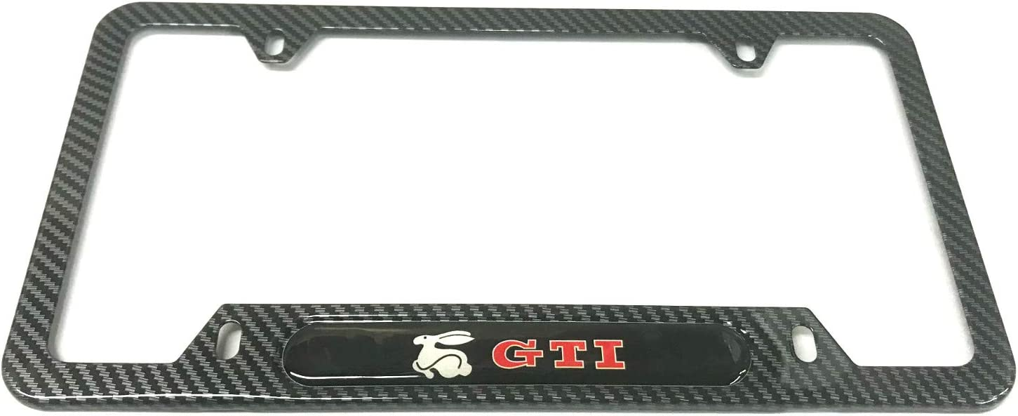 2 Mesport Carbon Fiber Style Stainless Steel Rust Free GTI Rabbit License Plate Cover Frames Holder with Screw Caps for VW