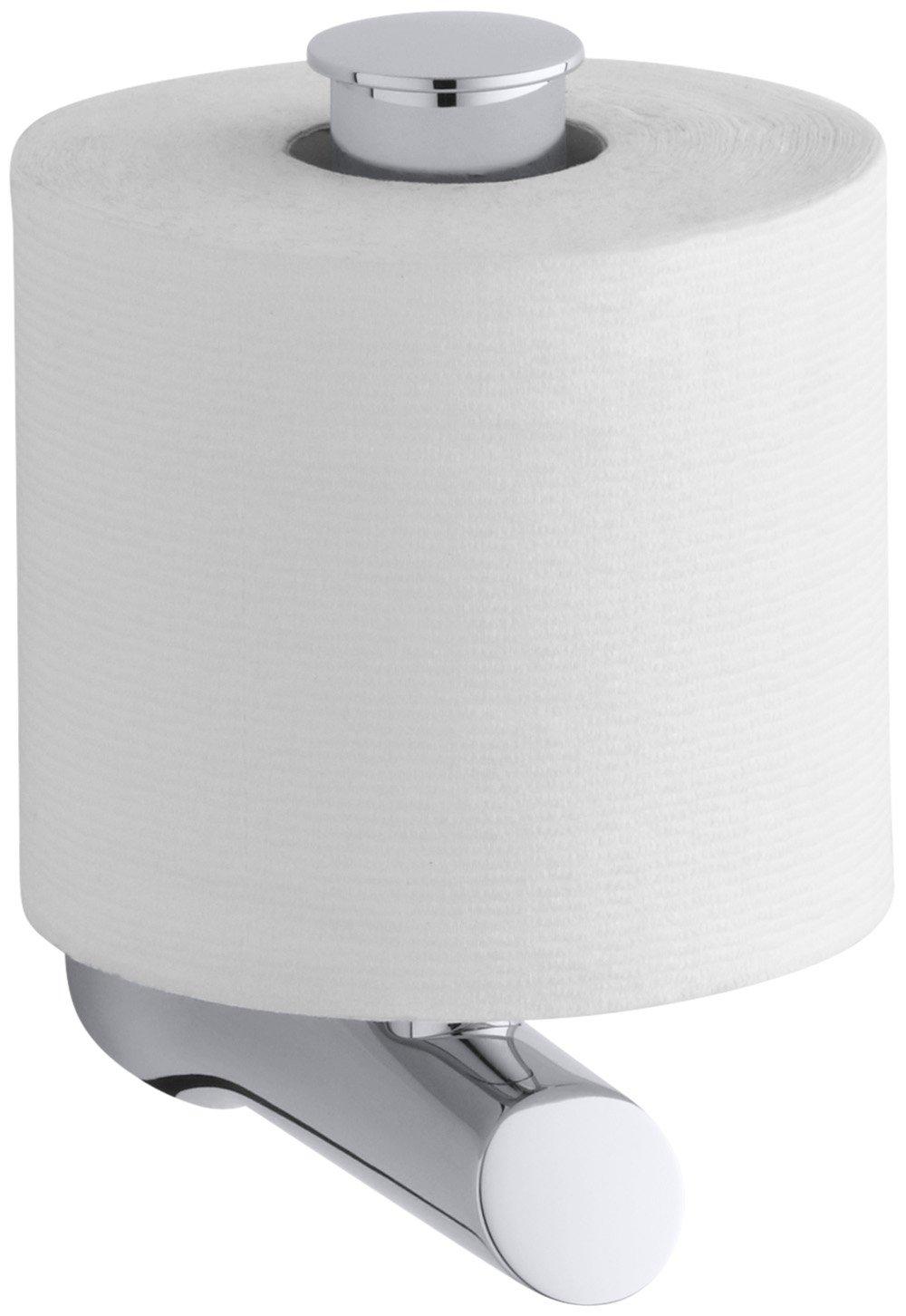 Polished Chrome Kohler K5673CP Toobi Vertical Single Post Toilet Paper Holder