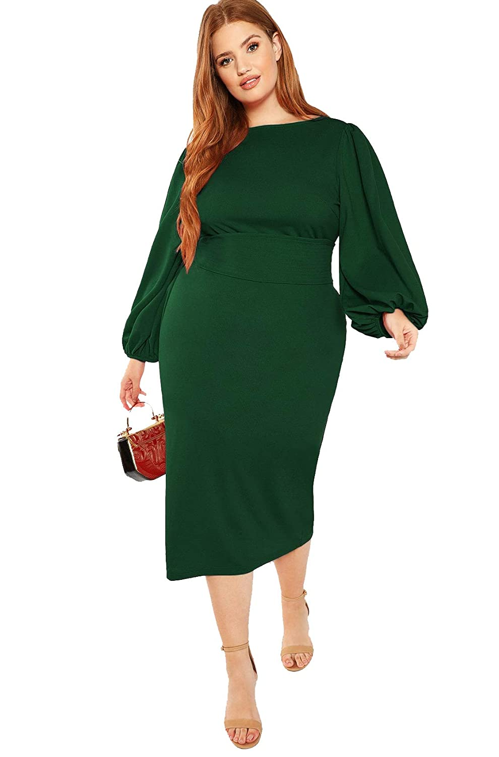 60s 70s Plus Size Dresses, Clothing, Costumes Milumia Womens Plus Size Round Neck Long Lantern Sleeve Belted Pencil Dress $39.88 AT vintagedancer.com