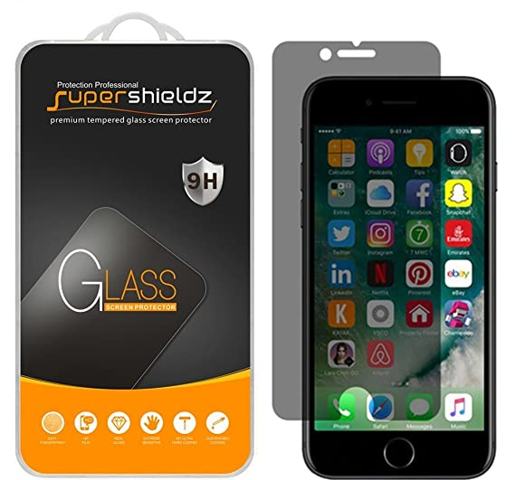 new styles 13a18 f5799 (2 Pack) Supershieldz for Apple iPhone 8 Plus and iPhone 7 Plus (Privacy)  Anti Spy Tempered Glass Screen Protector, Anti Scratch, Bubble Free