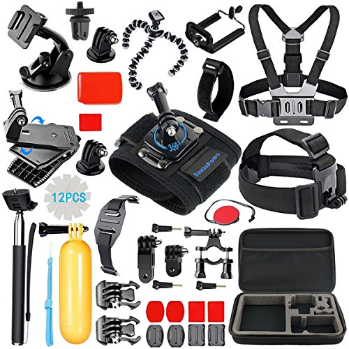 SmilePowo Sports Action Camera Accessory Kit for GoPro Hero6,5 Black - HERO (2018) - Hero 5 - 4 - 3 - Hero Session - GoPro Fusion - DBPOWER - AKASO - APEMAN - SJ CAM - Head Strap Camera Mount - Chest Mount Harness