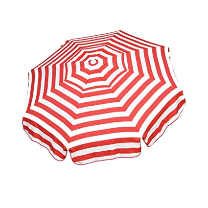 Heininger 1324 DestinationGear Italian Red and White 6' Acrylic Striped Beach Pole Umbrella