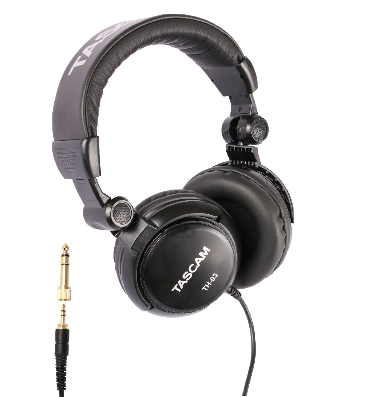 Tascam TH-03 Studio Headphones – Closed Back, Padded, Adjustable Pro Audio Headset with Gold Tip 1/8 inch to 1/4 inch Adaptor by Focus Camera