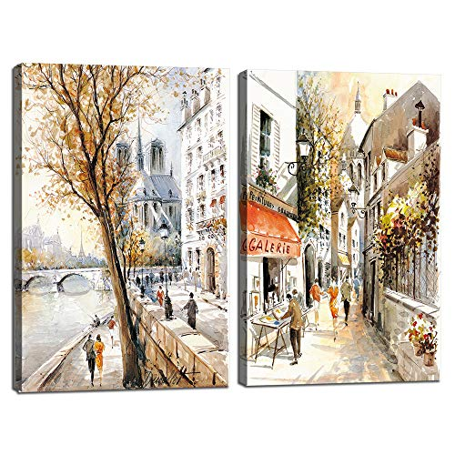 Prints Posters Wall Art Contemporary 2 Panels Street View of Paris Landscape Scenery Oil Painting The Picture Print On Canvas with Wooden Framed,Home Modern Decoration Giclee Artwork (32''W x 24''H)