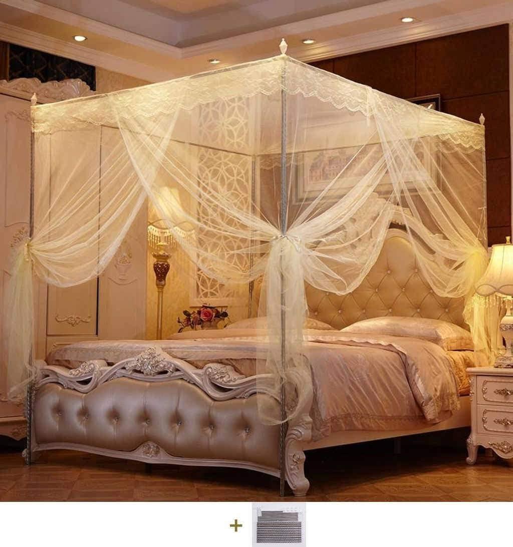 Bove Betthimmel Prinzessinnen-Betthimmel,4Prisma Mit Betthimmelrahmen Mosquito Net M/ückennetz Baldachin Zelt Kinderzimmer Spitze-A-120x200cm 47x79inch