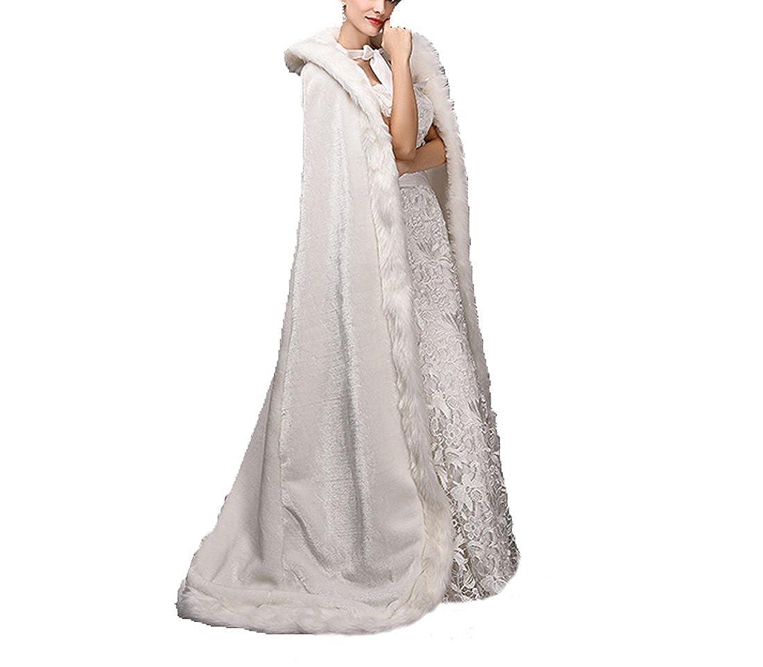Diandiai Womens Long Faux Fur Wraps Cape Faux Fur Winter Wedding Dresses Coat for Bridal (One-size, Ivory) at Amazon Womens Clothing store: