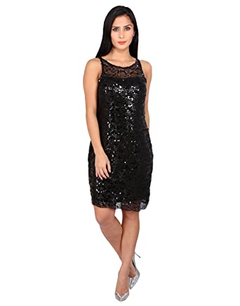 a7ded5721 FashionVerb Net with Sequins Black Short Round Neck Sleeveless Party Wear  Readymade One Piece western wear