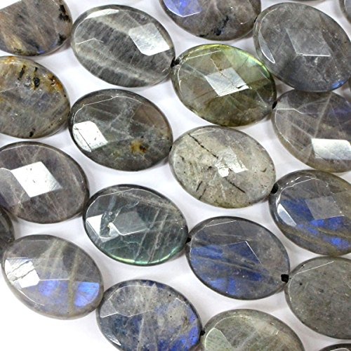 Labradorite Oval Beads (Faceted Natural Color Genuine Labradorite Oval Real Gemstones Loose Beads for Jewerly Bracelet Making (10*14mm))