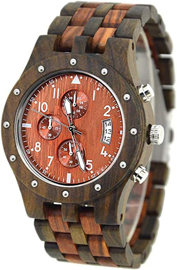 木製のメンズ腕時計、クロノグラフクォーツムーブメントとウッドブレスレット、クォーツウッドウォッチ、男性の女性のためのギフトセット、天然サンダルウッドブレスレットアナログクオーツ D