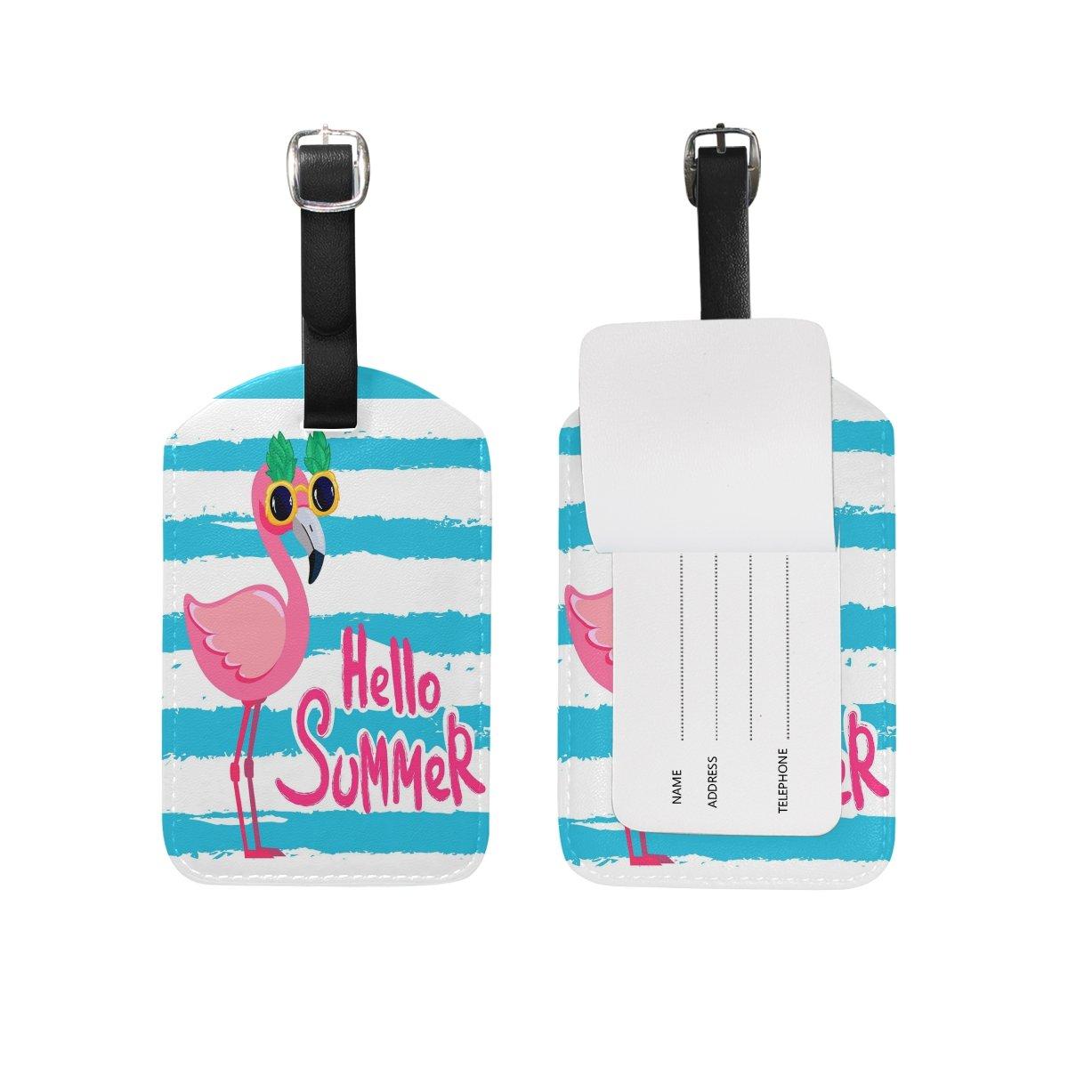 ALAZA Cute Funny Flamingo Luggage Tags PU Leather Suitcase Baggage Labels 2PCS