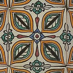 Marokkanische Keramikfliese Enis 10 x 10 cm handbemalte orientalische Fliese Kunsthandwerk aus Marokko Wandfliese f/ür sch/öne K/üche Dusche Badezimmer