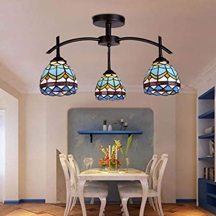 GAOLIQIN Luces de Techo Estilo Tiffany LED Mediterráneo ...