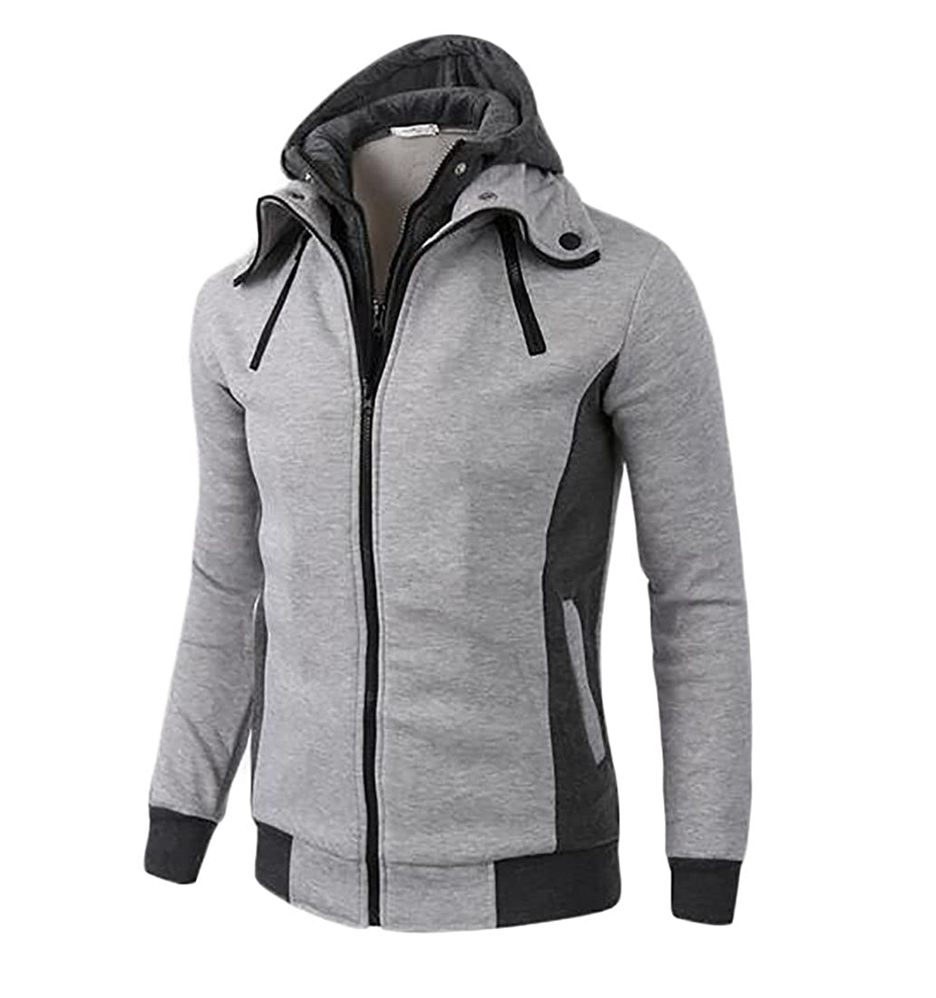 Domple Mens Plus Size Plus Size Spring Fall Fake Two-Piece Zip Front Hoodie Coat Sport Sweatshirt