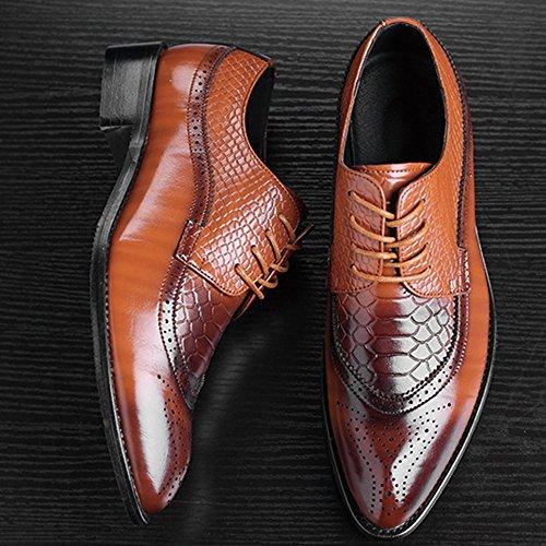 Chaussure De Chaussure Robe Business Hommes Brown Mariage Orteil PU MERRYHE Smart Travail Chaussures Formelle Pointé Parti De Brogue Derby aqZwa1BH