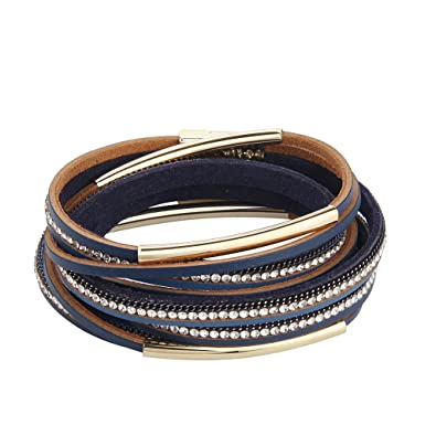 Christmas Gift-Women Genuine Leather Bracelet Wrap Bangle Bracelet Snowflake Magnet Buckle