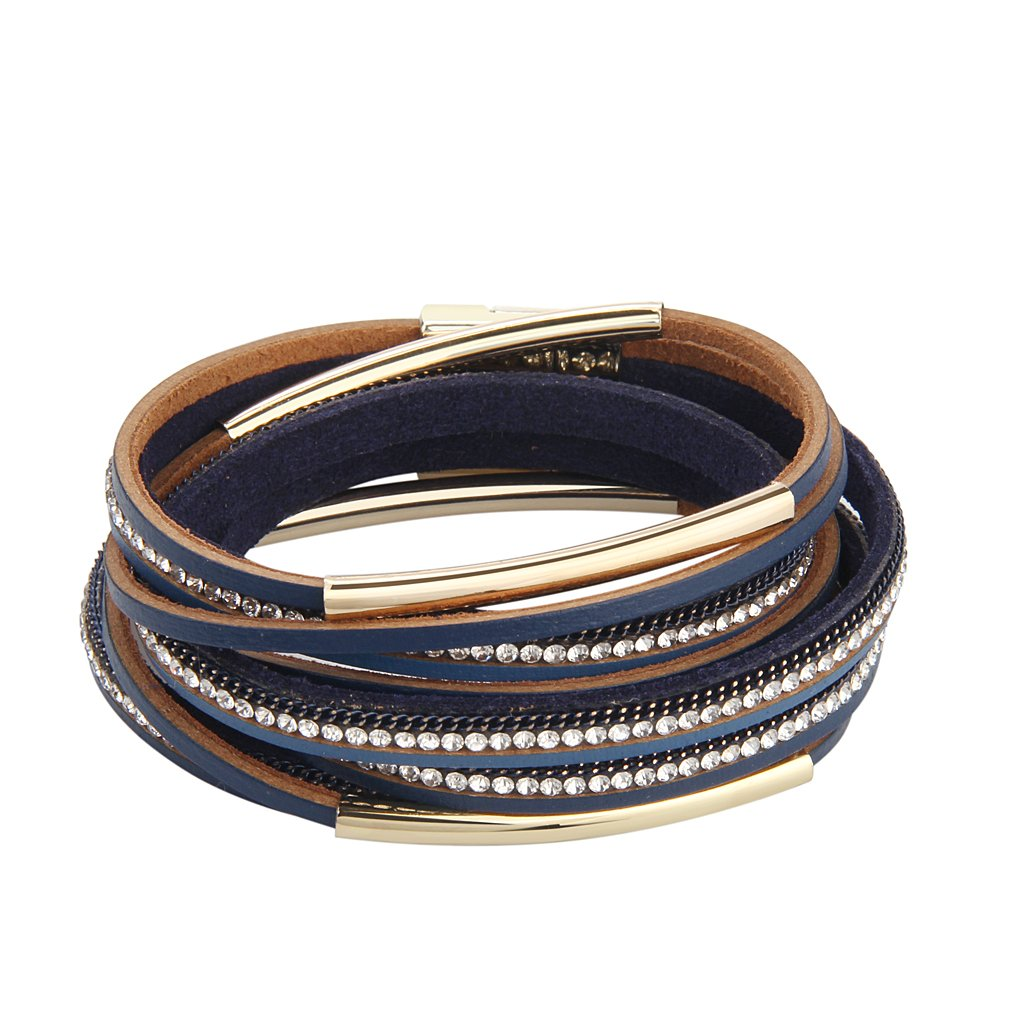 TASBERN Casual Women Leather Bracelet - Crystals Metal Tube Wrap Cuff Bangle - with Magnetic Clasp for Women Girls