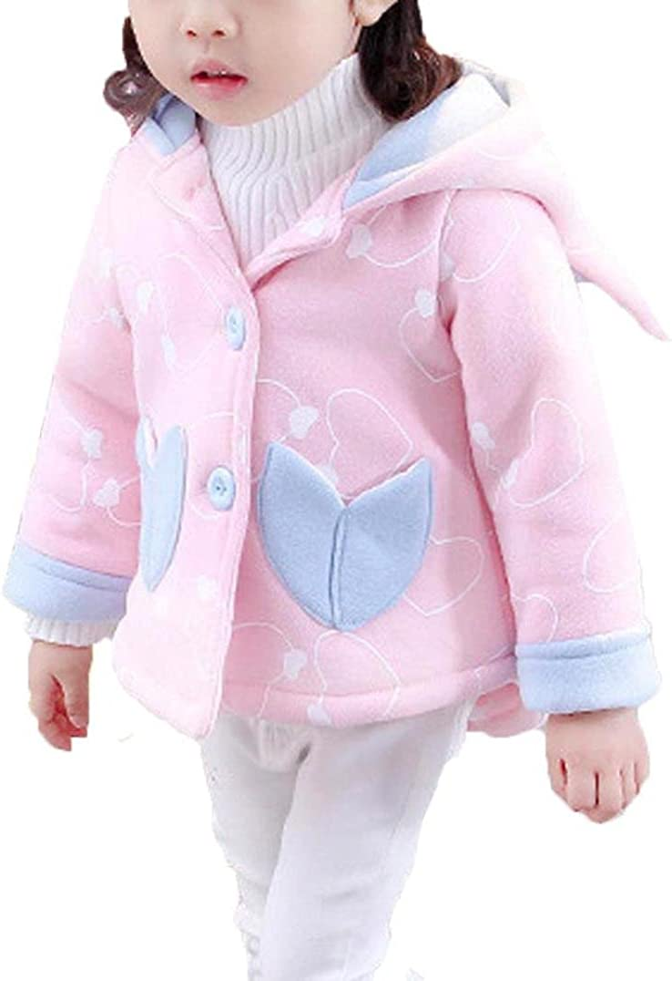 KONFA Baby Girls Cotton Hooded with Panda Ear Hat Thick Coat,Suitable for 1-4 Years old,Winter Warm Clothes