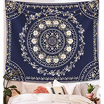 Lifeel Blue Bohemian Tapestry Wall Hanging, Mandala Floral Medallion Hippie Tapestry with White Aesthetic Wreath Design, Navy Wall Decor Blanket for Bedroom Home Dorm, Large 68×80 inches