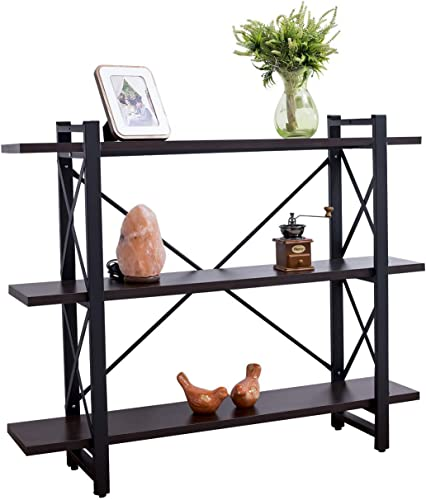 Grace Tech Industrial Bookshelf Wood and Metal Bookcase Furniture