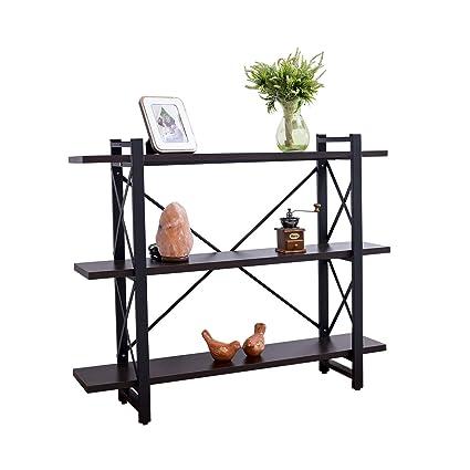 Grace Tech 3 Shelf Industrial Bookshelf Wood And Metal Bookcase Furniture