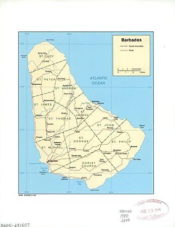 Amazon.com: 1980 Map of Barbados. Barbados: Posters & Prints