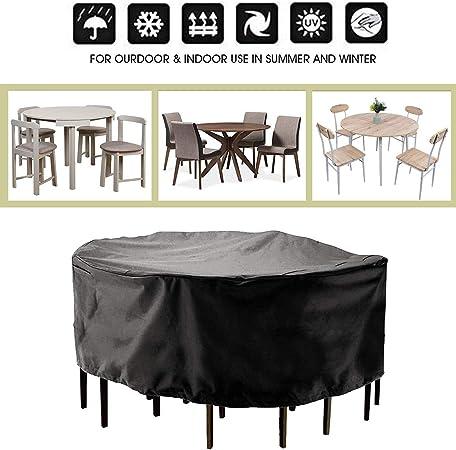 Cubierta Impermeable para Muebles 210D Oxford Tela Funda Protectora para Muebles Sillas Sofás Mesas Redondo/Circular Cubierta de Exterior Funda Protectora Muebles Jardin Negro: Amazon.es: Hogar
