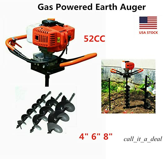 "52CC Petrol Earth Auger Post Hole Digger with 8/"" Auger for Yard Fence Excavate"