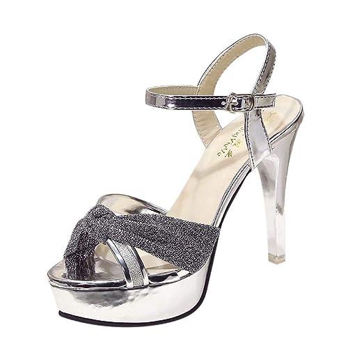 precio atractivo muchos de moda varios diseños QUICKLYLY Zapatos Tacón Alto/Plataforma Abiertos Mujer Tacones Altos Fiesta  Sexy, Individuales Hebilla Cinturón Sandalias Salvajes Aguja, 35-39CN