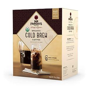 Don Francisco's Organic Cold Brew, Medium Roast, 100% Arabica Coffee, 8 Pitcher Packs (makes 4 pitchers)