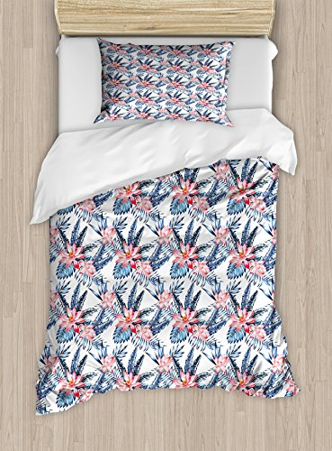 Ambesonne Tropical Twin Size Duvet Cover Set, Leaves of Banana Palm and Lilies Hawaii Brazil Botanical Watercolor Art, Decorative 2 Piece Bedding Set with 1 Pillow Sham, Coral Orange and Blue by Ambesonne