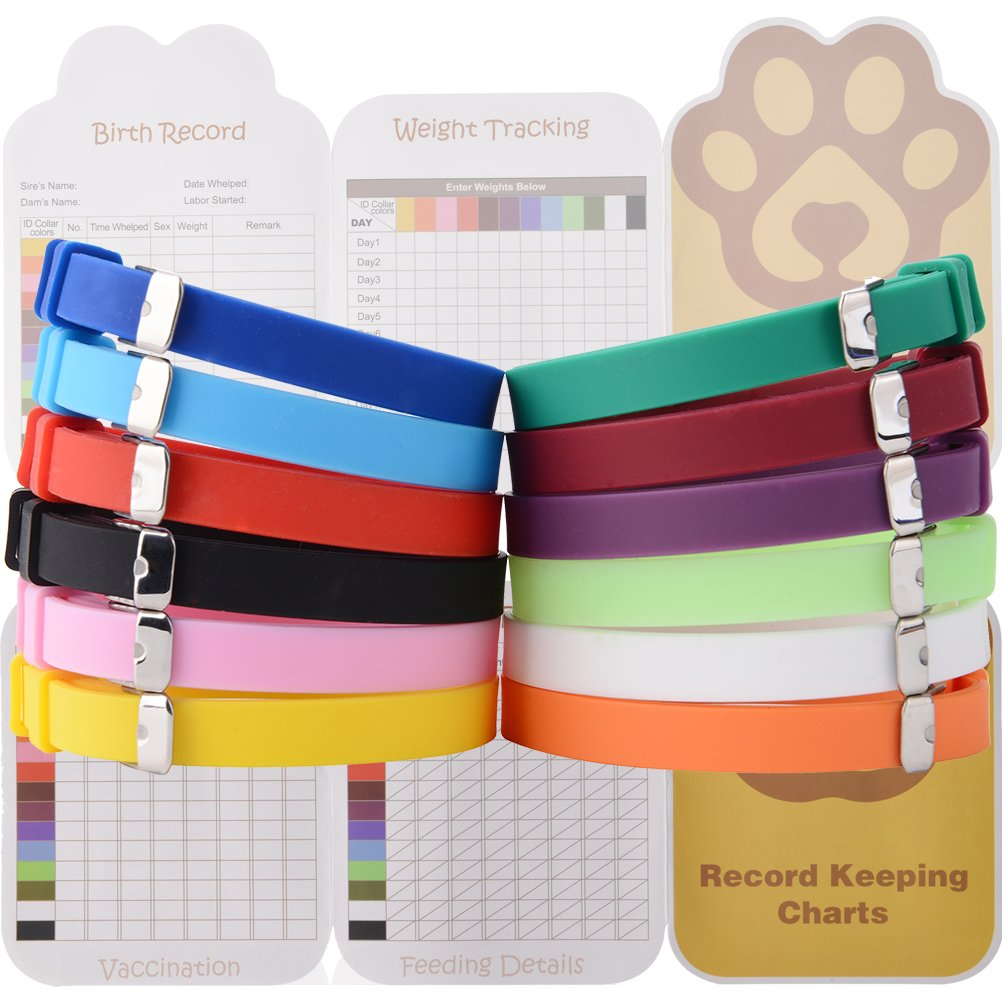 EXPAWLORER Puppy ID Collars 12pcs Soft Silicone Whelping Identification Collar with Record Keeping Charts, Make Holes by Yourselves