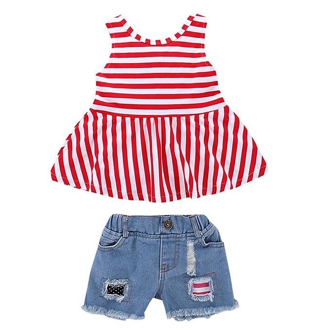 BBsmile 2 piezas bebé niñas ropa conjunto rayas Tops + pantalones cortos de mezclilla trajes ropa