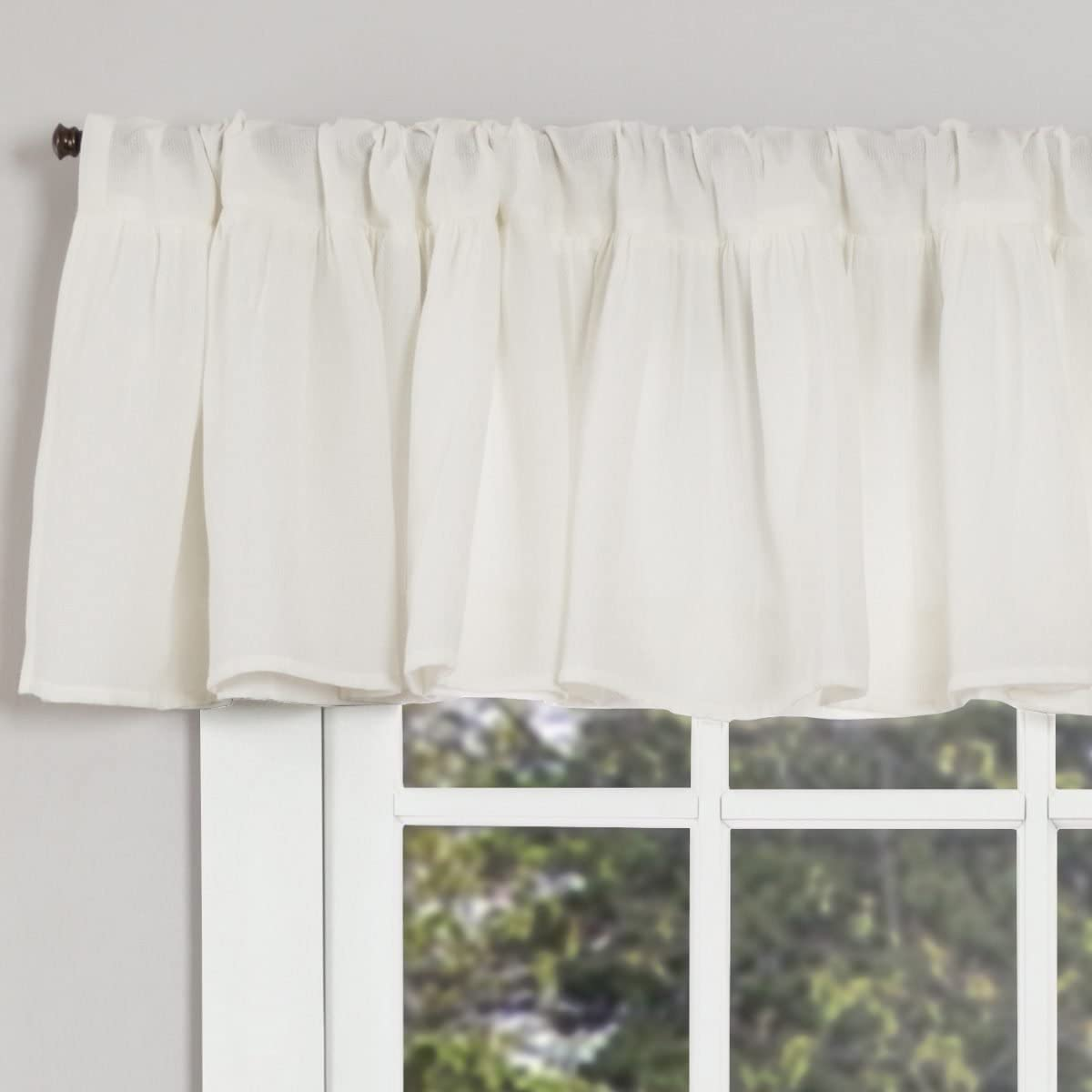 Piper Classics Annabelle Ruffled Valance Curtain, 72 x 16 , Antique Soft White, Semi-Sheer, Vintage Farmhouse Chic Style Curtain