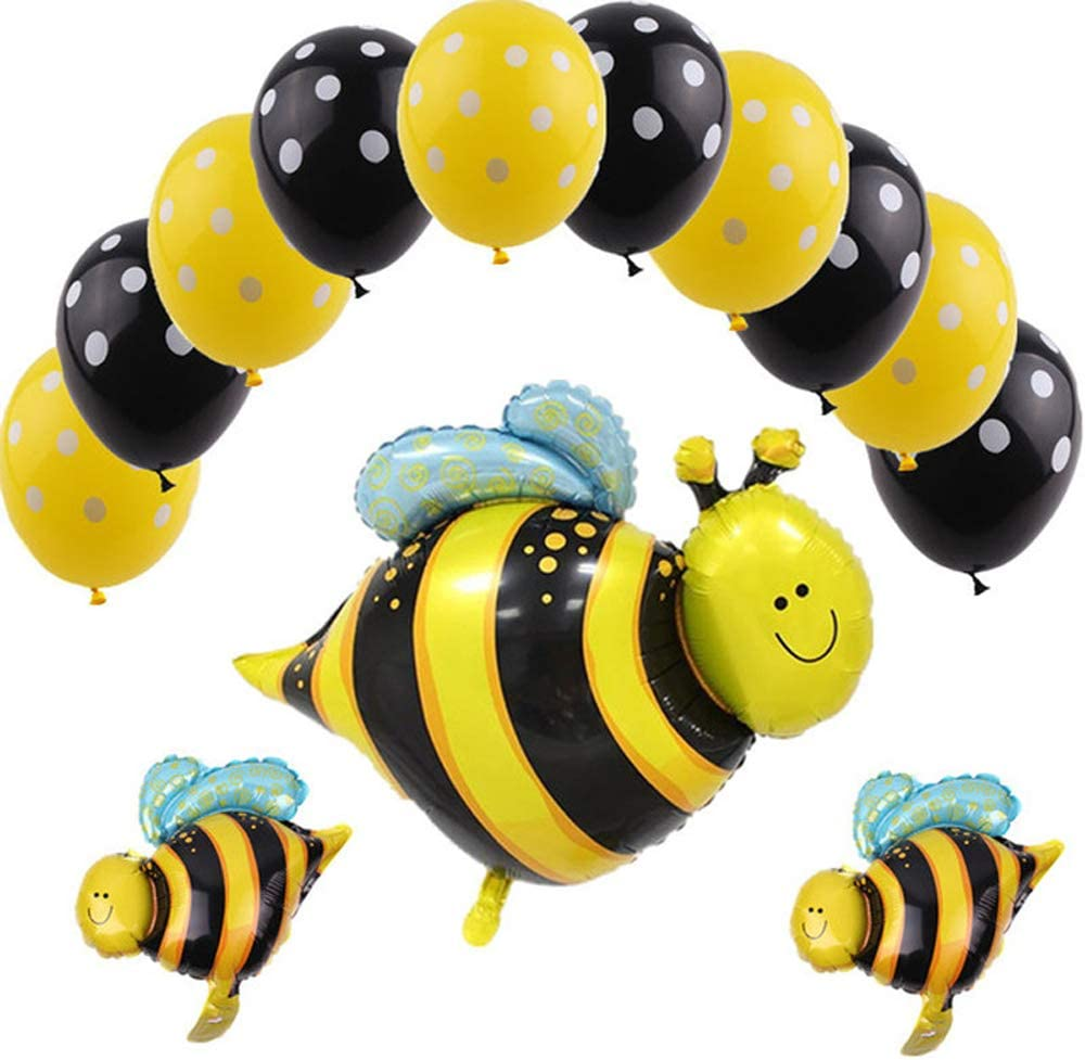 Hongkai Bumblebee Party Decoration Bumble Bee Foil Latex Balloons Set for Honey Bee Themed Birthday Party Baby Shower 1st Birtthday Banner Boy Girl Kids Party Decor Supplies