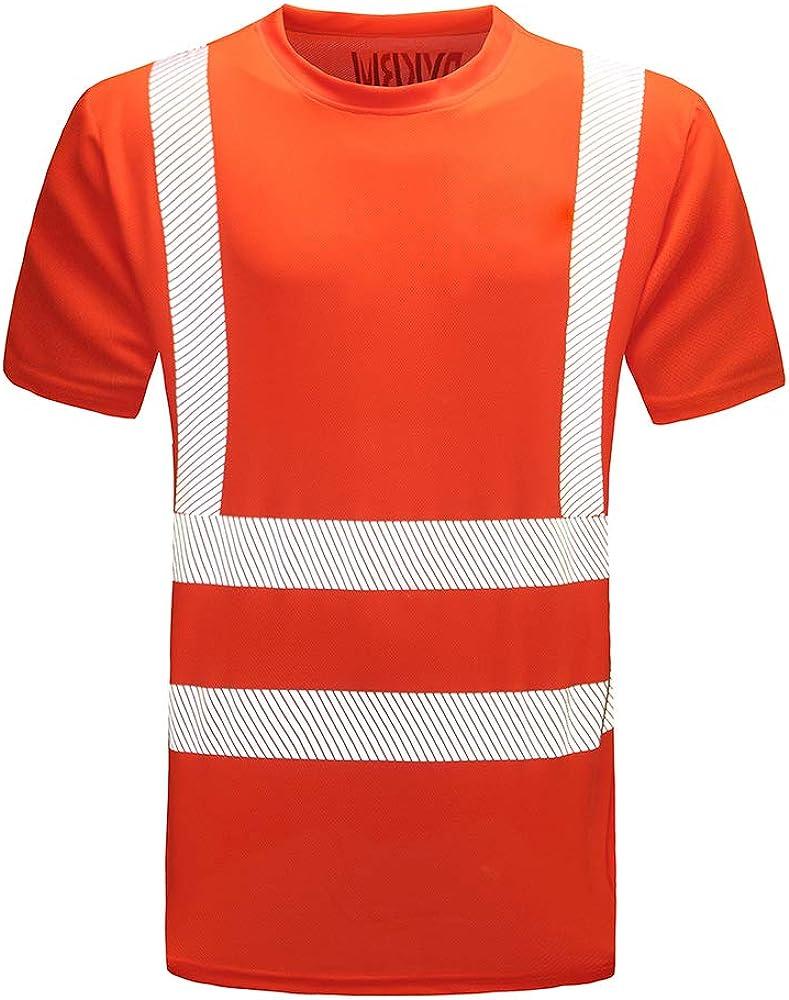 AYKRM t Shirt Tecnica da Lavoro Alta visibilit/à Giallo Arancione Fluo