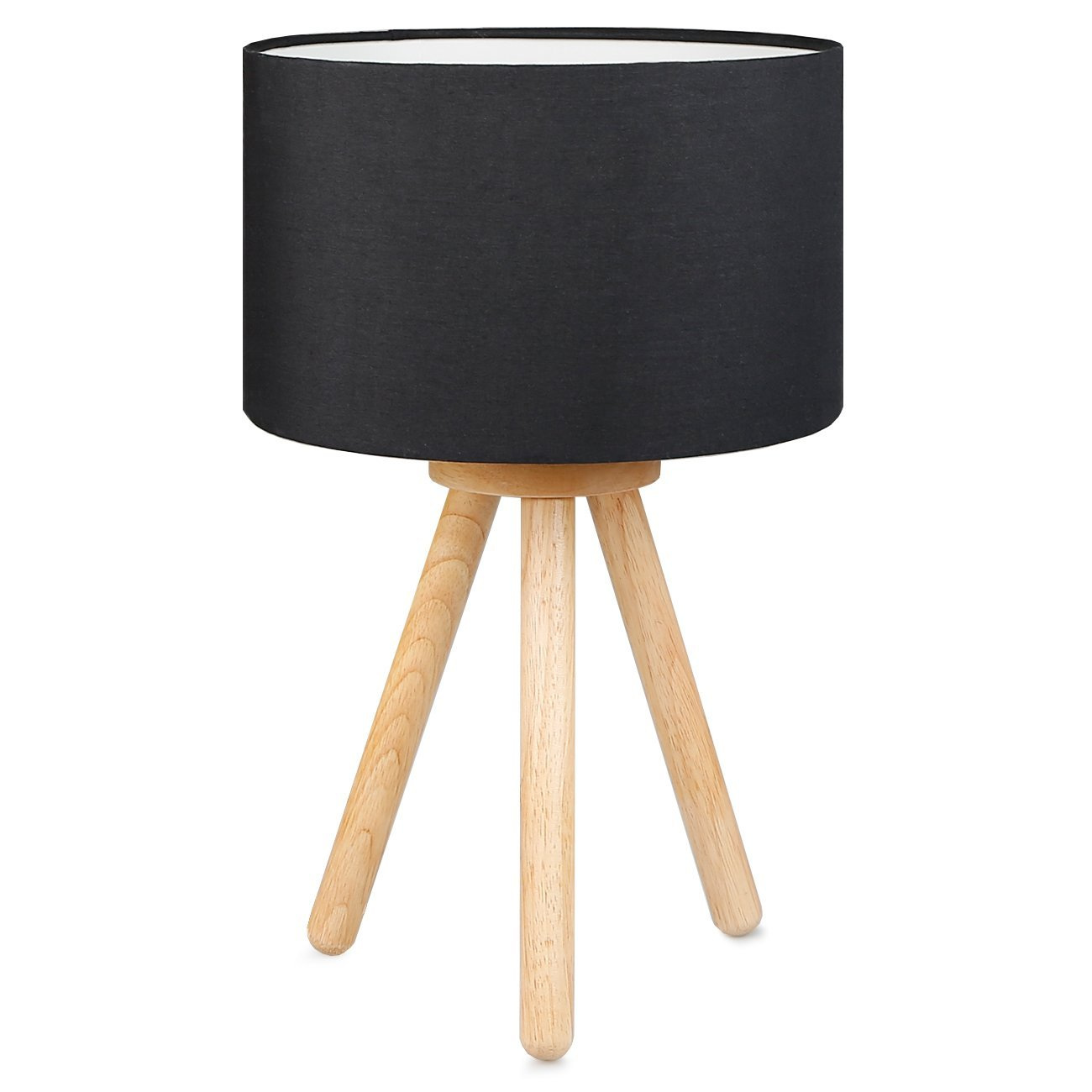 Tomons Wood Tripod Bedside Lamp, Simple Design Table Lamp with Soft Light for Bedroom Decorated in Warm and Cozy Ambience, Polyester Black Fabric Lampshade, Packaged with 4W LED Bulb