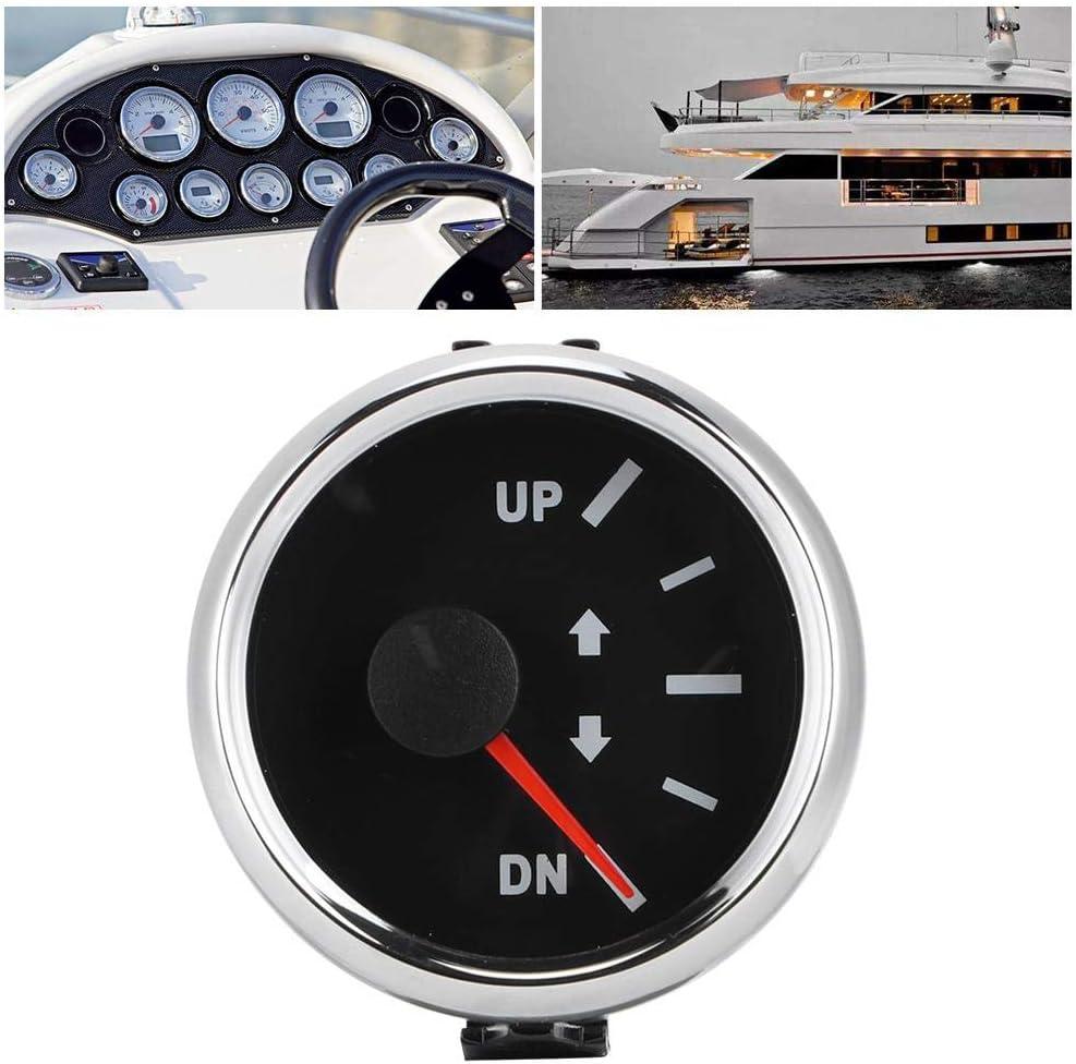 Black Dial Silver Frame Acouto Boat Trim Gauge Kit,52mm//2in UP-DN Boat Trim Gauge 0-190ohm Signal Trim Tilt Indicator Red Backlight
