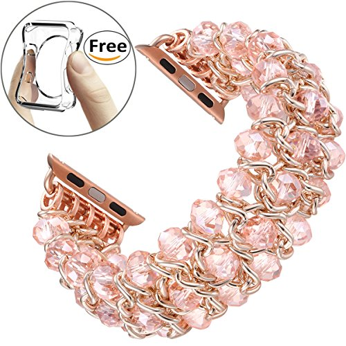 Fastgo for Apple Watch Band 38mm, Classy Retro Crystal Beaded Stretch Elastic for Iwatch Band for Series 1, Series 2, Series 3 (Pink Crystal - 38mm)