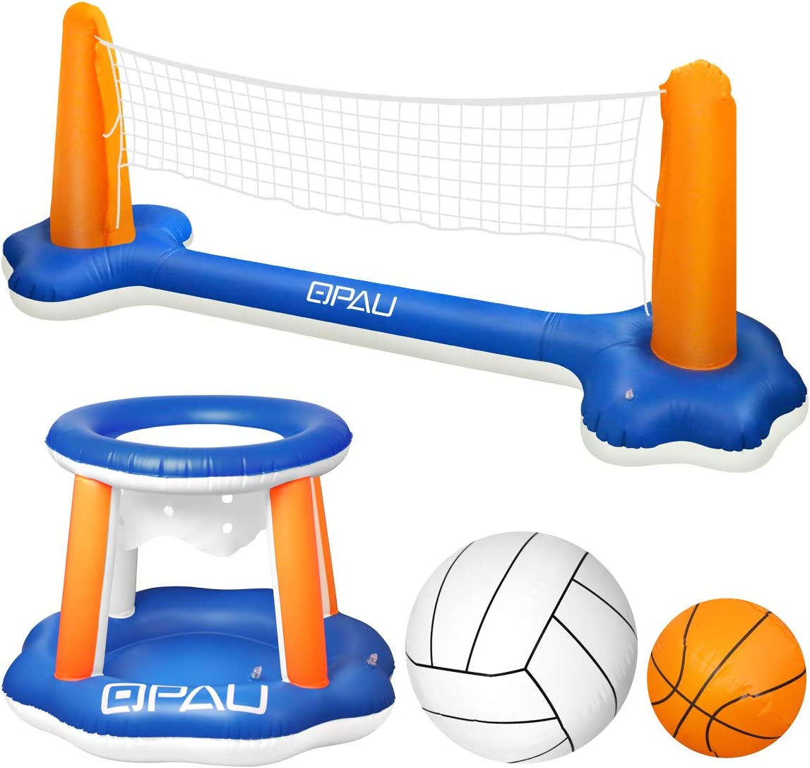 Amazon Com Qpau Inflatable Pool Float Set Basketball Hoop And Volleyball Net Swimming Game Pool Toys For Kids And Adults Toys Games