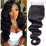"QTHAIR 12A Brazilian Body Wave Human Hair Lace Closure(20"" Free Part Natural Black) 100% Unprocessed Brazilian Body Wave Huma"