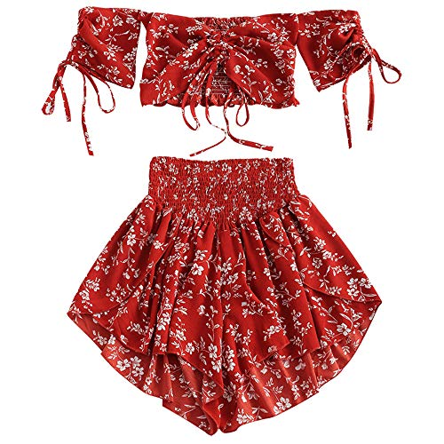 ZAFUL Women's Two Piece Off Shoulder Floral Smocked Crop Top and Shorts Set (Chestnut Red, 2XL)