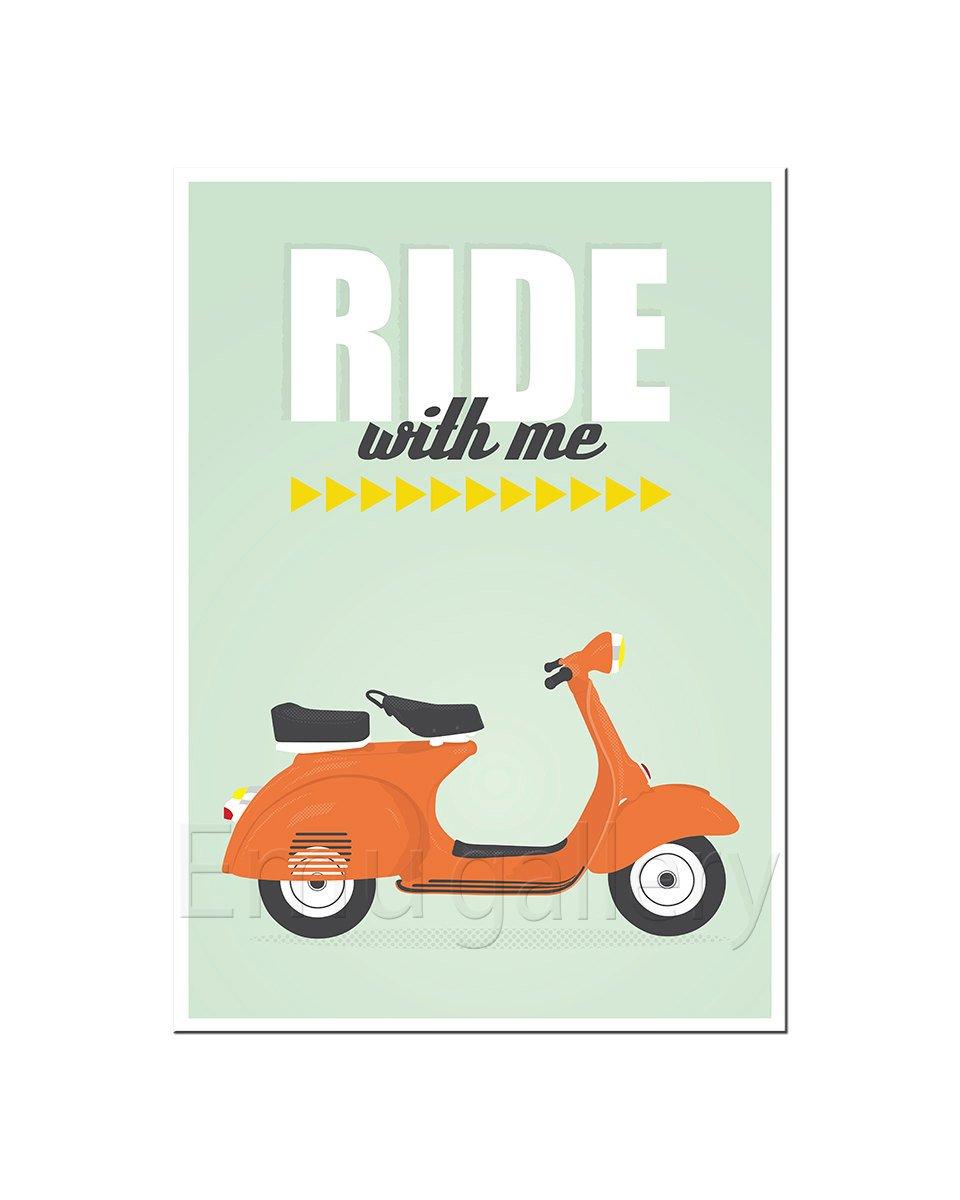Amazon.com: Cartel retro, Vespa, Ride, Scooter, mid-century ...